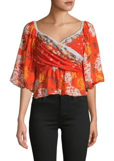 Free People Mixed Floral-Print Crossover Top