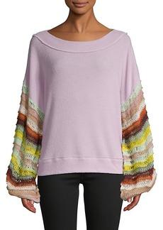Free People Multicolored Crochet-Sleeve Sweater