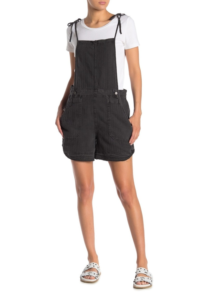 Free People Natural Sights Linen Blend Short Overalls