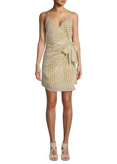 Free People Nodia Checkered Cotton Wrap Dress