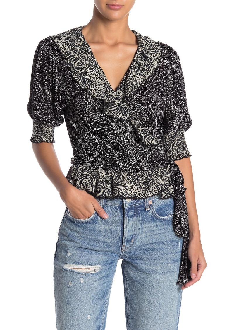 Free People Olivia Printed Wrap Top