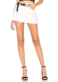 Patched Denim Mini Skirt