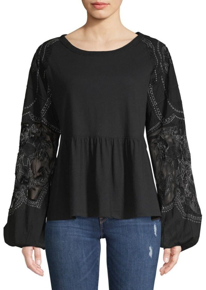 Free People Penny Embroidered Peplum Top
