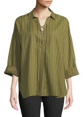 Free People Pinstriped Lace-Front Tunic