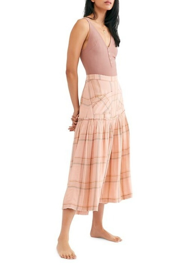 Free People ​Plaid Fever Drop-Hem Midi Skirt