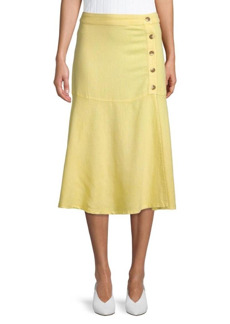 Free People Poppy Flounced Midi Solid Skirt