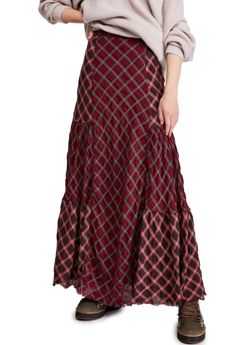 Free People Prairie Dreams Plaid Maxi Skirt