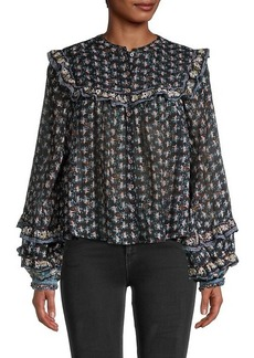 Free People Printed Cotton Blouse