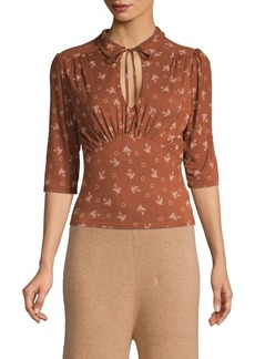 Free People Printed Tie-Neck Blouse