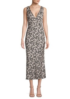 Free People Printed V-Neck Midi Dress