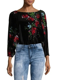 Free People Printed Velvet Bodysuit