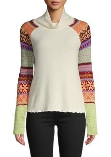 Free People Prism Intarsia Cowl Turtleneck Sweater