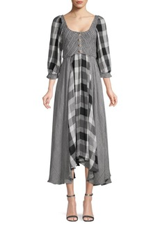 Free People Puffed-Sleeve Checker Peasant Dress