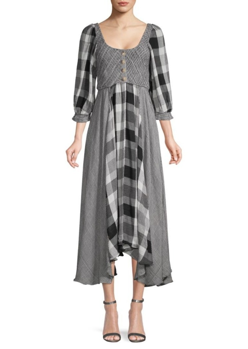 Free People Puffed-Sleeve Checker Peasant Dress