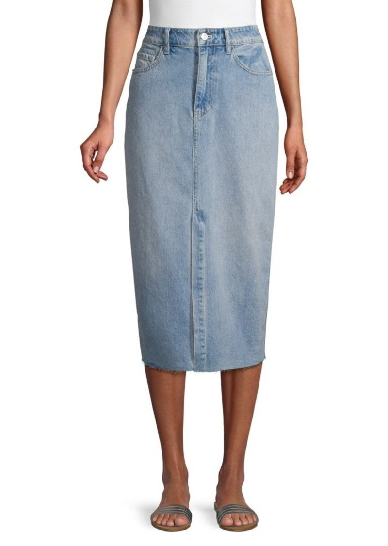 Free People Raw Hem Denim Pencil Skirt