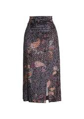 Free People Romano Velvet Midi Skirt
