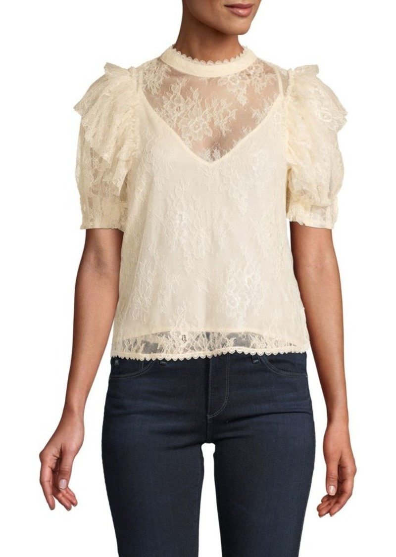 Free People Ruffled Short-Sleeve Top