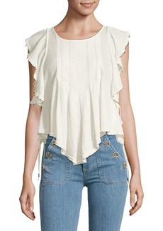 Free People Ruffled Tassel Top