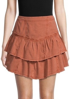 Free People Ruffles In The Sand Tiered Denim Skirt