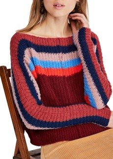 Free People See The Rainbow Stripe Knit Sweater
