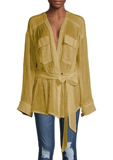 Free People Self-Tie Cotton-Blend Blouse