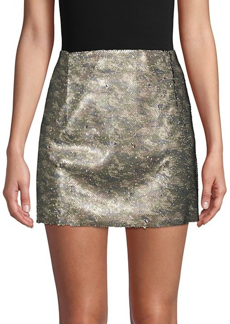 Free People Skinny Sequin Camo Mini Skirt