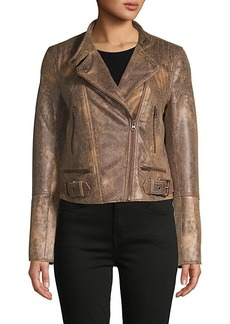 Free People Snake-Embossed Faux Leather Moto Jacket