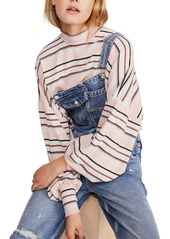 Free People Steph Striped Mock Neck Balloon Sleeve Top