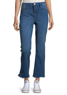 Free People Straight Cropped Frayed Cuff Jeans
