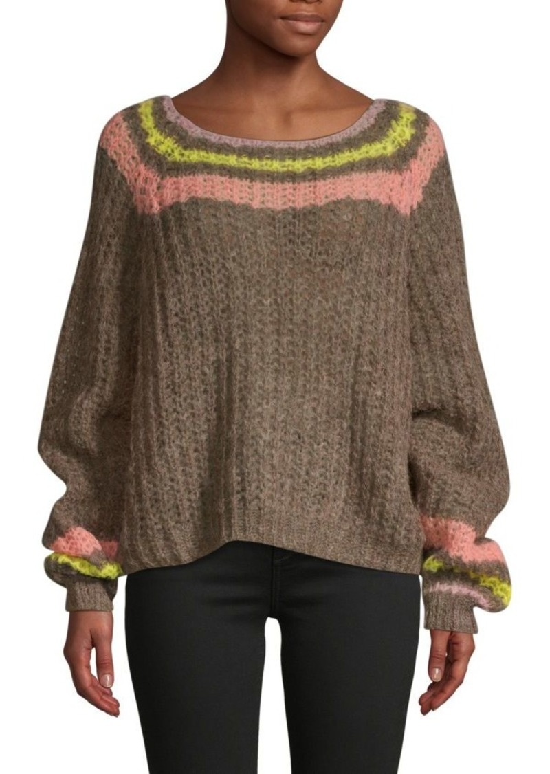 Free People Stripe Balloon-Sleeve Sweater