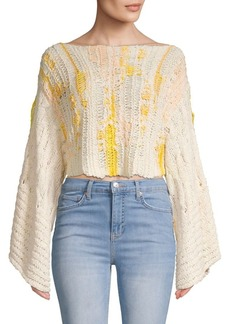 Free People Textured Cotton Blend Cropped Sweater