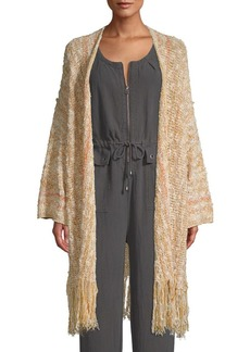 Free People Textured Cotton Blend Long Cardigan