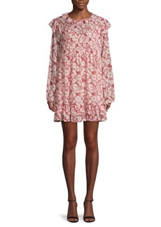 Free People These Dreams Floral Ruffled Mini Shirtdress