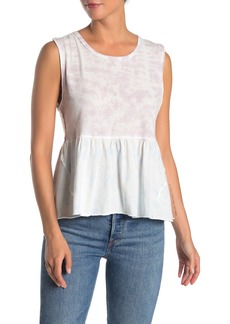 Free People Tie Dye Anytime Peplum Tank Top