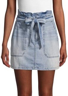 Free People Tie High-Waist Denim Mini Skirt