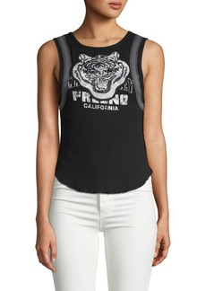 Free People Tiger Graphic Cotton & Linen Tank Top