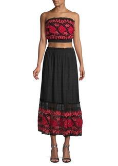 Free People Two-Piece Rosebud Tube Top & Skirt Set