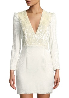 Free People Velvet-Bodice Long-Sleeve Jacquard Mini Dress  Ivory