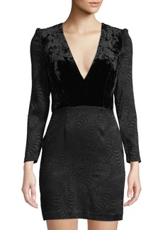 Free People Velvet-Bodice Long-Sleeve Jacquard Mini Dress  Black