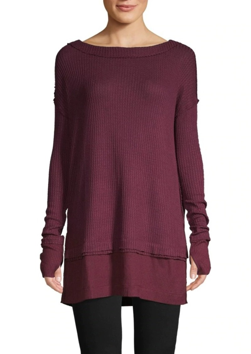 Free People Waffle-Knit Long-Sleeve Top