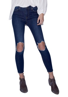 We the Free by Free People High Rise Busted Knee Skinny Jeans (Dark Blue)