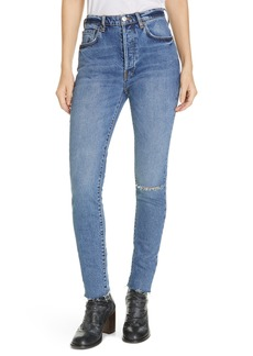 We the Free by Free People Stella High Waist Raw Hem Skinny Jeans