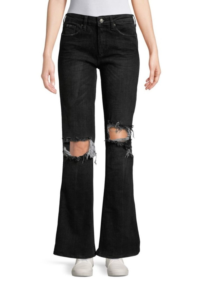 Free People Wide-Leg Distressed Jeans