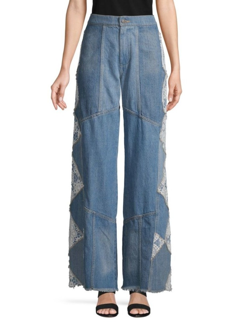 Free People Wide-Leg Fringe Jeans