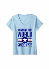 Free People Womens 4th of July - America Running The World Since 1776 V-Neck T-Shirt