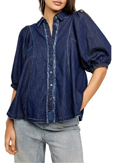 Women's Free People Suhrie Puff Sleeve Denim Button-Up Shirt