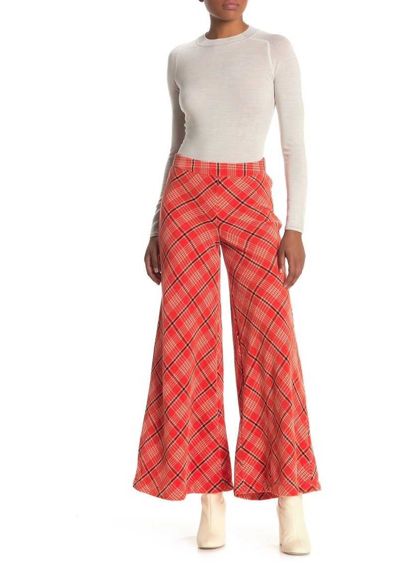 Free People Wonderland Plaid Print Wide Leg Pants