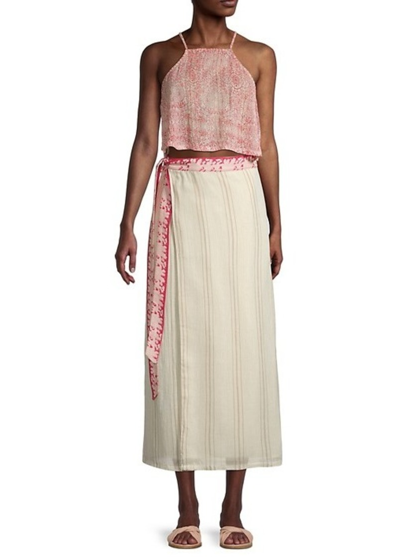Free People Wrapped Around You 2-Piece Crop Tank Top & Midi Wrap Skirt Set