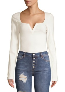 Free People Zoe Notch-Neck Long-Sleeve Bodysuit