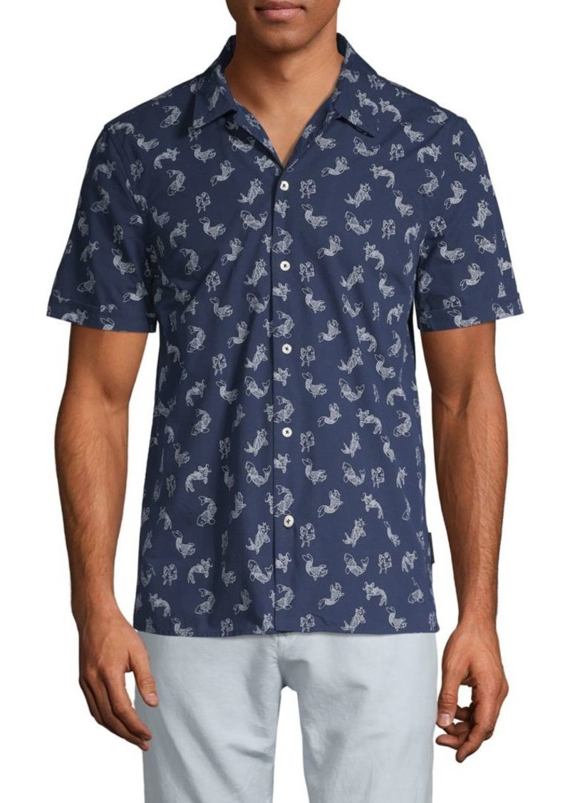French Connection Animal-Print Button-Down Shirt